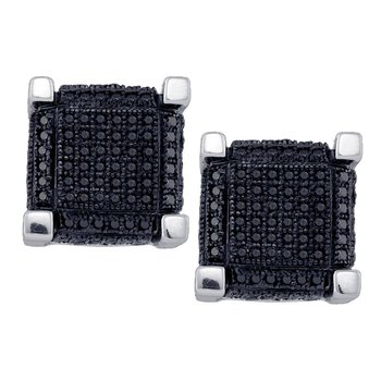 10kt White Gold Mens Round Black Color Enhanced Diamond 3D Square Cube Cluster Earrings 1.00 Cttw