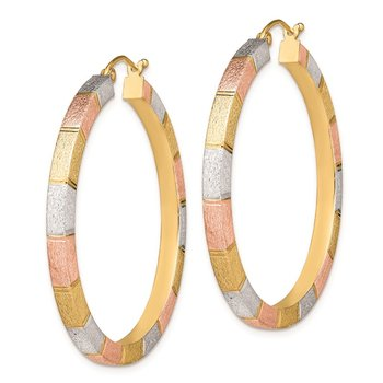 Sterling Silver Rhod-plated Rose/Yellow Vermeil D/C 3x40mm Hoop Earrings