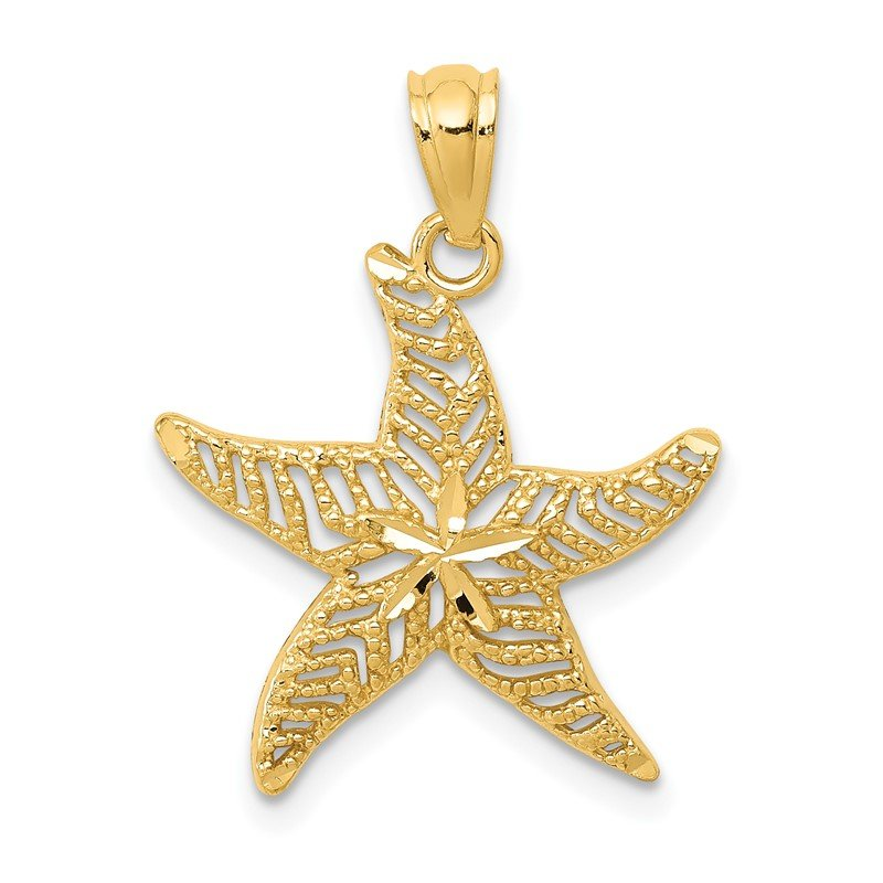 Quality Gold 14k Diamond-cut Polished Filigree Starfish Pendant