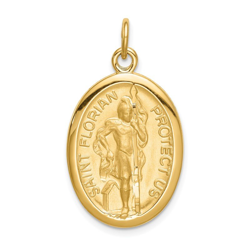 Quality Gold Sterling Silver Gold Tone & Diamond Cut St. Florian Medal