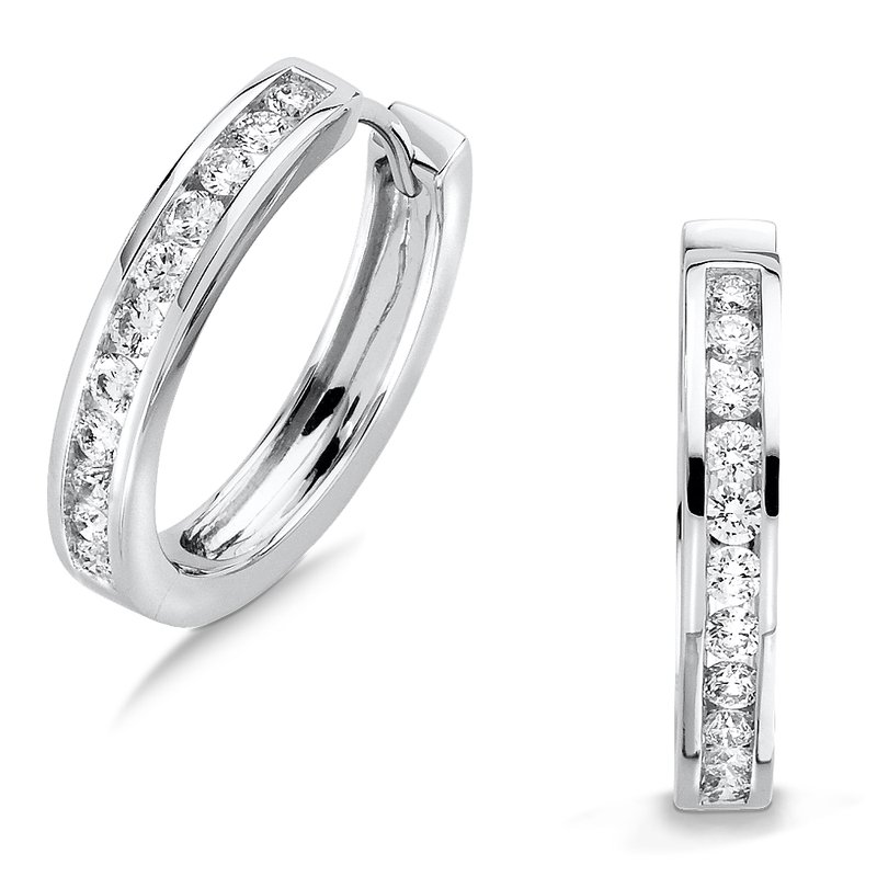SDC Creations Channel set Diamond Hoops in 14k White Gold (1/2 ct. tw.) GH/SI1-SI2