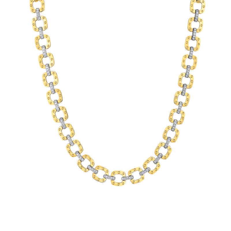 Roberto Coin 18Kt Gold Link Necklace With Diamonds