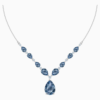 Vintage Necklace, Blue, Rhodium plated