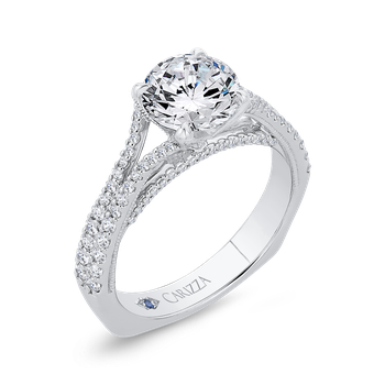 18K White Gold Diamond Halo Engagement Ring with Euro Shank (Semi-Mount)