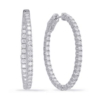 White Gold 1.5in Securehinge Hoop Earrin