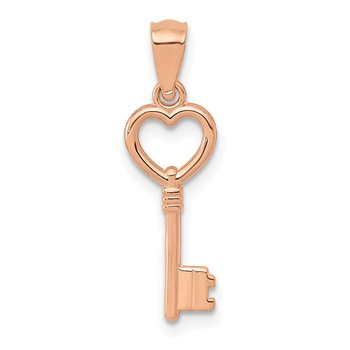 14K Rose Gold 3D Polished Heart Key Charm