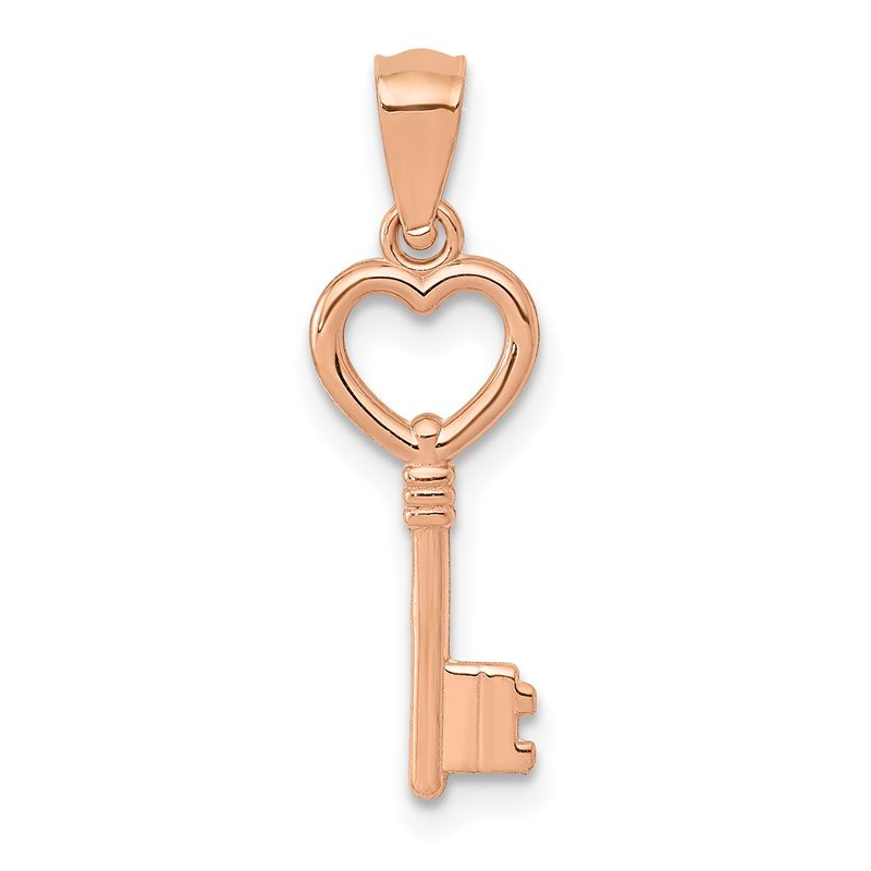 Quality Gold 14K Rose Gold 3D Polished Heart Key Charm