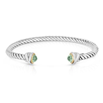 Sterling Silver & 18K Gold Classica Italian Cable Bangle
