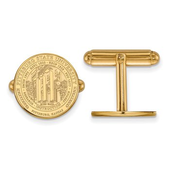 Gold Pittsburg State University NCAA Cuff Links