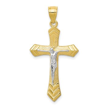 10K w/Rhodium Passion Crucifix Pendant