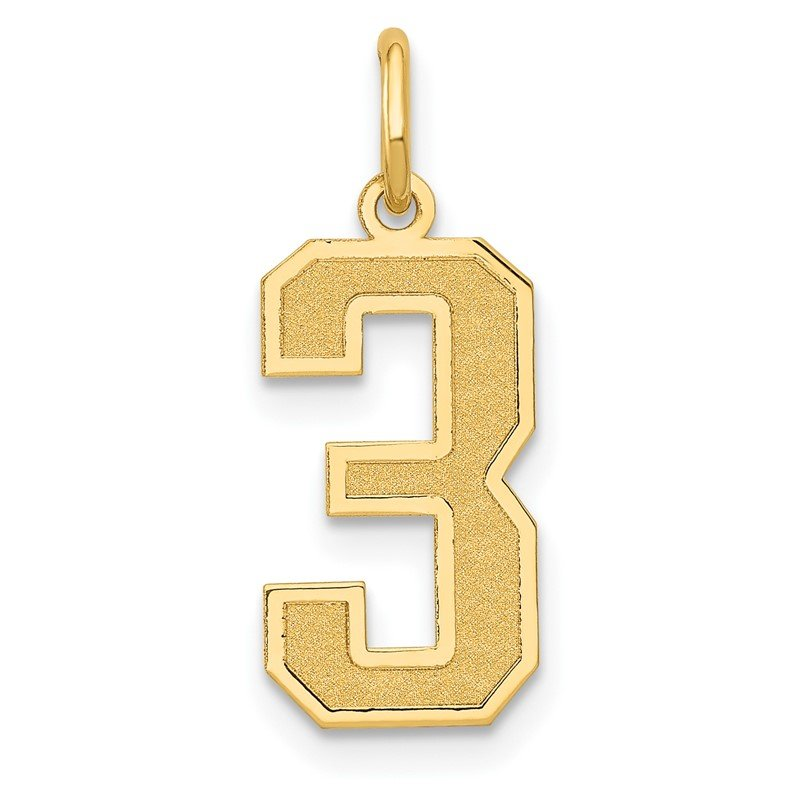 Quality Gold 14k Medium Satin Number 3 Charm