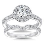 Caro74 Classic Elegance Collection Halo Engagement Ring in 14K White Gold (3/4ct. tw.)