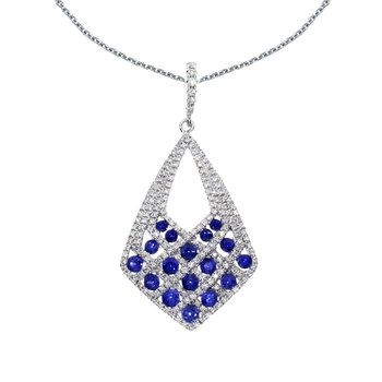 14k White Gold Sapphire and Diamond Drop Pendant