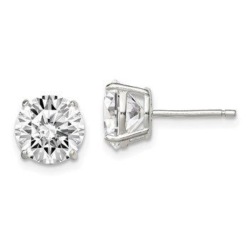 Sterling Silver 8mm Round Basket Set CZ Stud Earrings