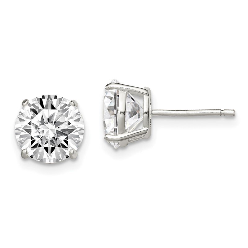 Quality Gold Sterling Silver 8mm Round Basket Set CZ Stud Earrings