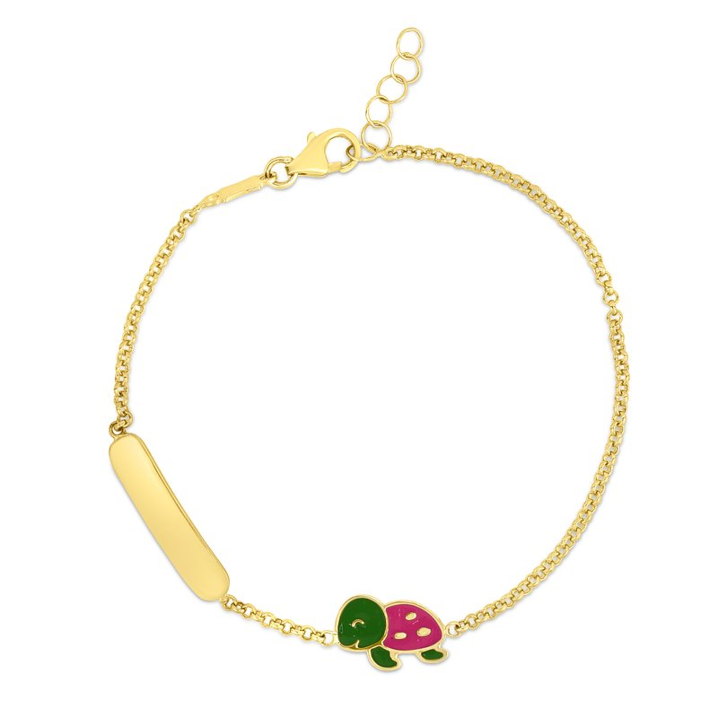 Royal Chain 14K Gold Enamel Turtle ID Bracelet