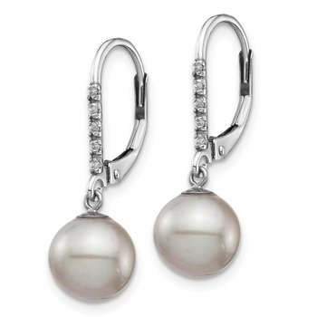 14k White Gold 8-9mm Grey FWC Pearl .05ct Diamond Leverback Earrings