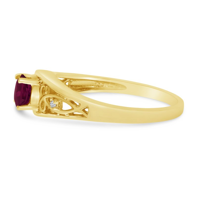 Color Merchants 14k Yellow Gold Round Ruby And Diamond Ring