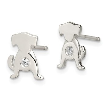 Sterling Silver Polished CZ Dog Post Earrings