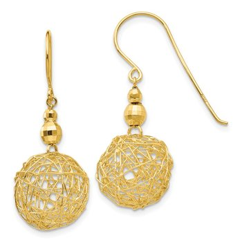 14K Mirror Bead & Wire Ball Earrings