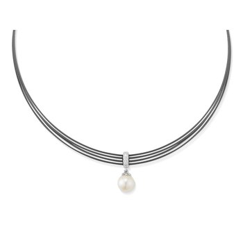 Black Cable Tiered Choker Necklace with 18kt White Gold & Pearl
