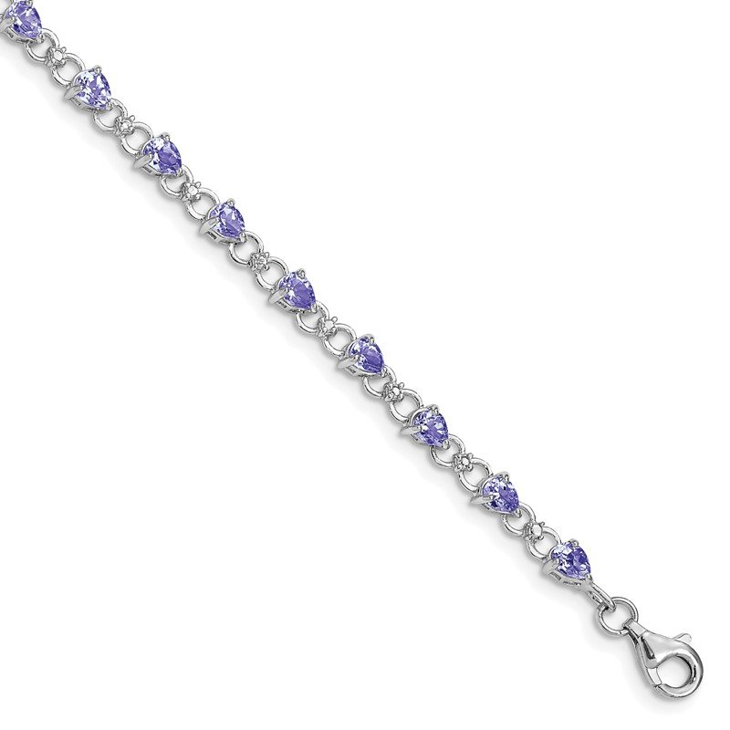 Quality Gold Sterling Silver Rhodium-plated Tanzanite and Diamond Bracelet