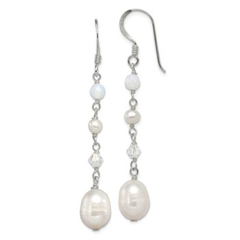 Sterling Silver FWC Pearl/Opalite Crystal/Crystal Dangle Earrings
