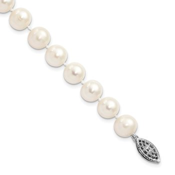 Sterling Silver Rhodium-plated 8-9mm White FWC Pearl Necklace
