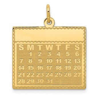 14k Monday the First Day Calendar Pendant