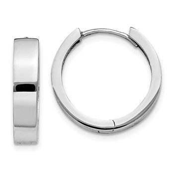 14k White Gold Round Hinged Earrings
