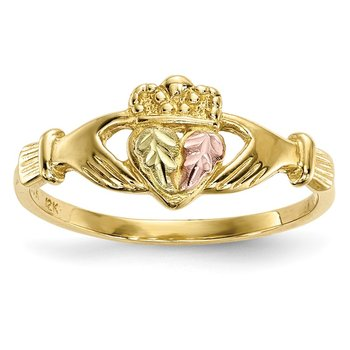 10k Tri-Color Black Hills Gold Claddagh Ring
