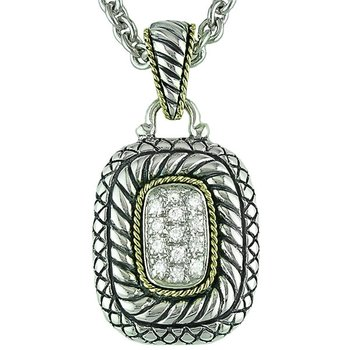 18kt and Sterling Silver Pave Rectangle Diamond Pendant with Chain