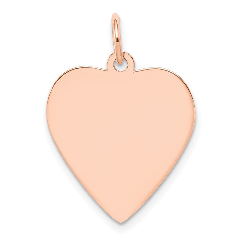 Quality Gold 14k Rose Gold Plain .027 Gauge Engraveable Heart Disc Charm
