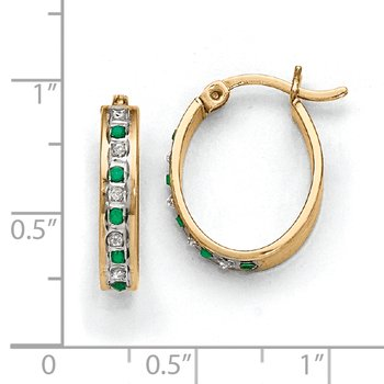 Sterling Silver & Gold-plated Diamond & Emerald Oval Hoop Earrings