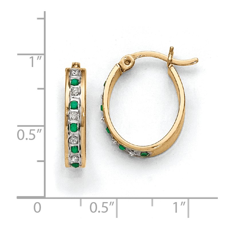 Quality Gold Sterling Silver Diamond Mystique Gold-plated Dia/Emerald Oval Hoop Earrings