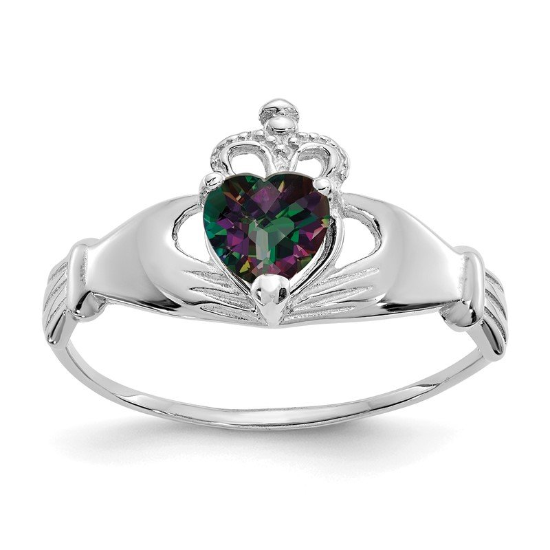 Quality Gold 14k White Gold CZ June Birthstone Claddagh Heart Ring