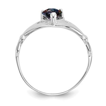 14k White Gold CZ June Birthstone Claddagh Heart Ring