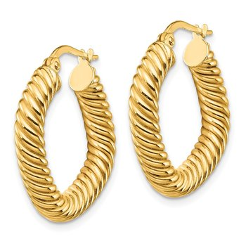 14K Small 2x4mm Textured Square Hoop Earrings