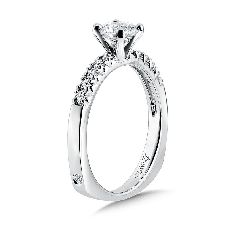 Caro74 Classic Elegance Collection Engagement Ring With Diamond Side Stones in 14K White Gold with Platinum Head (5/8ct. tw.)