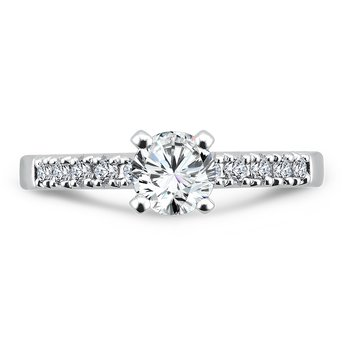 Classic Elegance Collection Engagement Ring With Diamond Side Stones in 14K White Gold with Platinum Head (5/8ct. tw.)