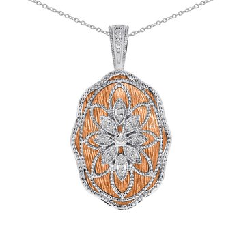 14k Rose Gold and White Gold Diamond Fashion Pendant
