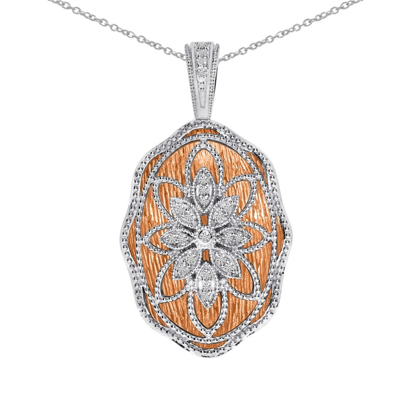 Color Merchants 14k Rose Gold and White Gold Diamond Fashion Pendant