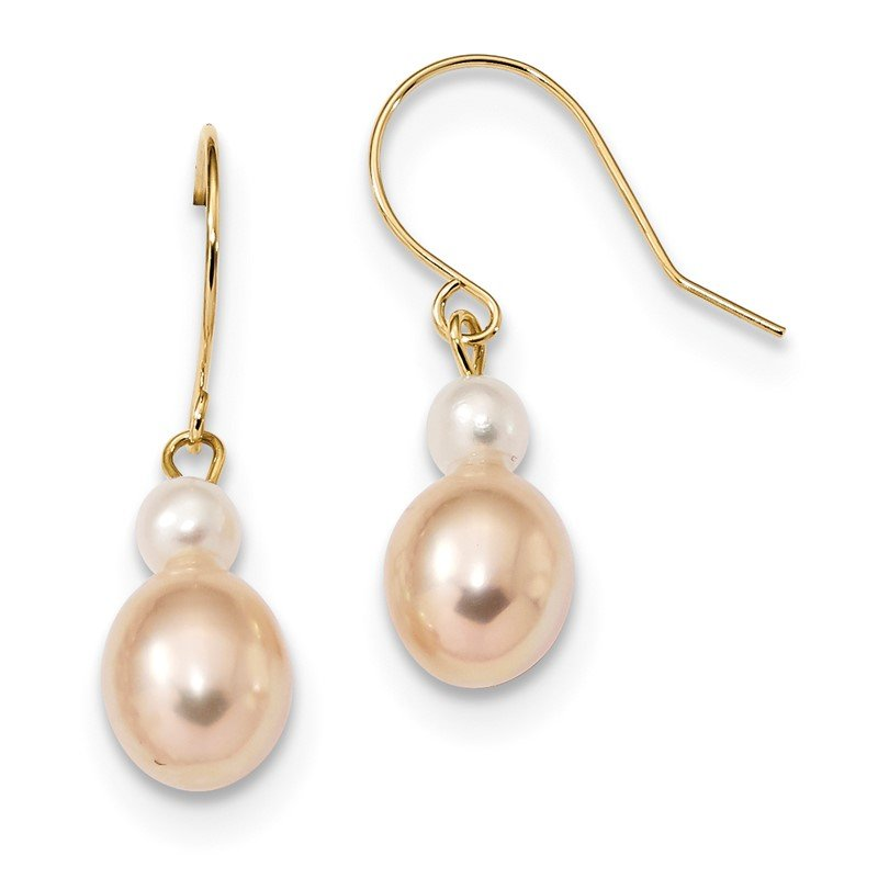 Quality Gold 14k 7-8mm White/Pink Round/Rice FW Cultured Pearl Dangle Earrings
