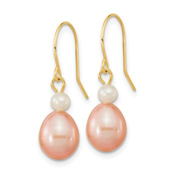 14k 7-8mm White/Pink Round/Rice FW Cultured Pearl Dangle Earrings