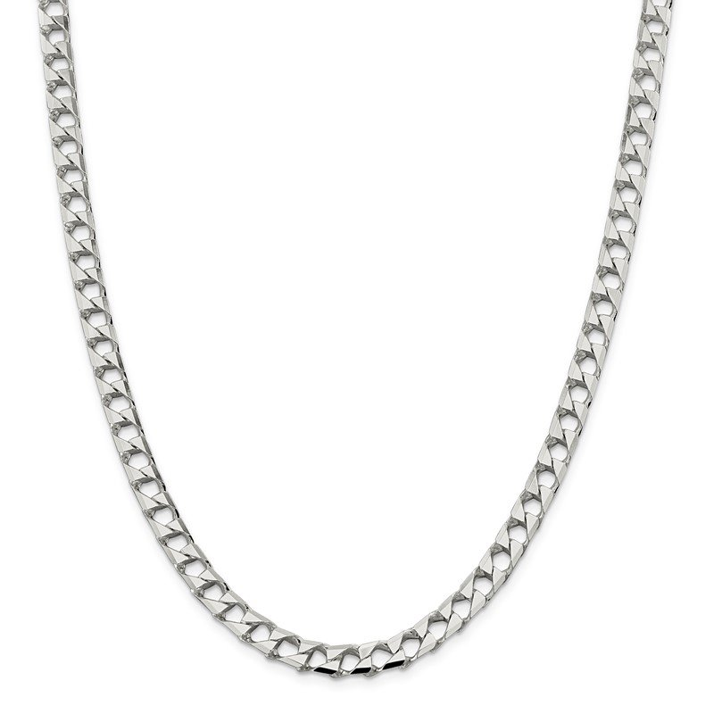 Quality Gold Sterling Silver 6.75mm Flat Open Curb Chain