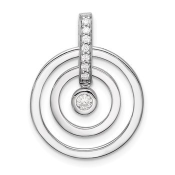 Sterling Silver Rhodium-plated CZ 2-Circles Pendant