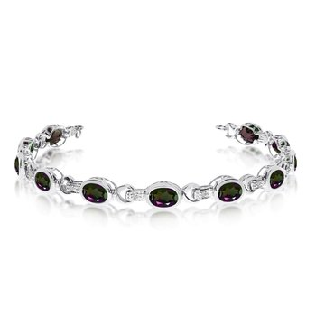 14K White Gold Oval Mystic Topaz and Diamond Bracelet