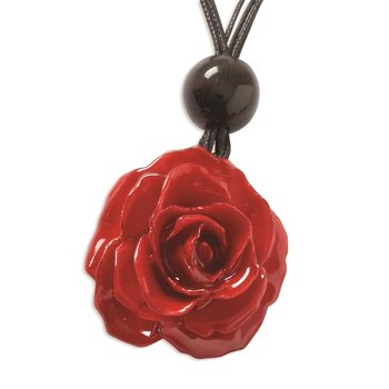 Lacquer Dipped Small Red Rose 18 inch Black Cotton Cord Necklace