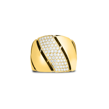 18KT GOLD & DIAMOND WIDE TORCHON RING