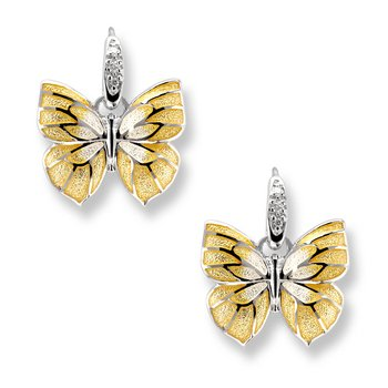 Yellow Butterfly Wire Earrings.Sterling Silver-White Sapphires
